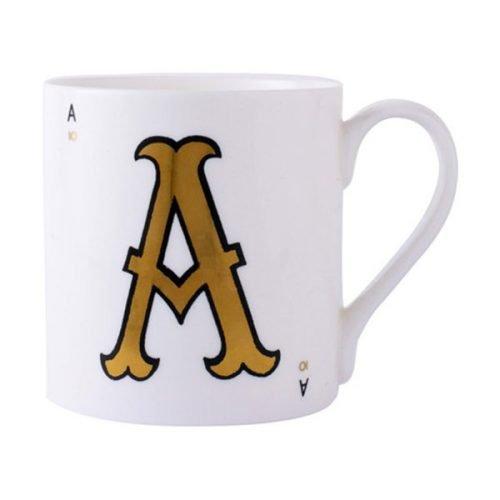 Gold alphabet mug - A