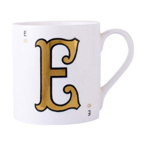 Gold alphabet mug - E