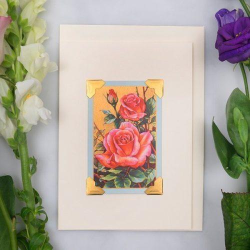Vintage Card - Pink Roses