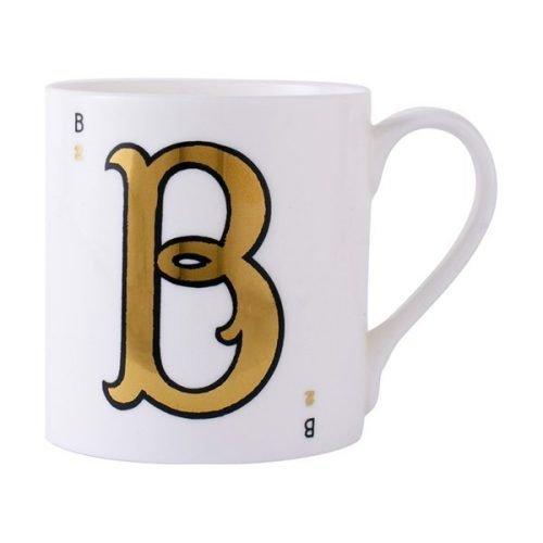 Gold alphabet mug - B