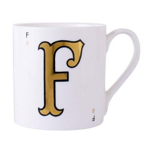 Gold alphabet mug - F