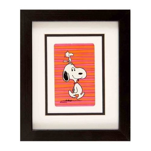 Snoopy - pink & orange striped background