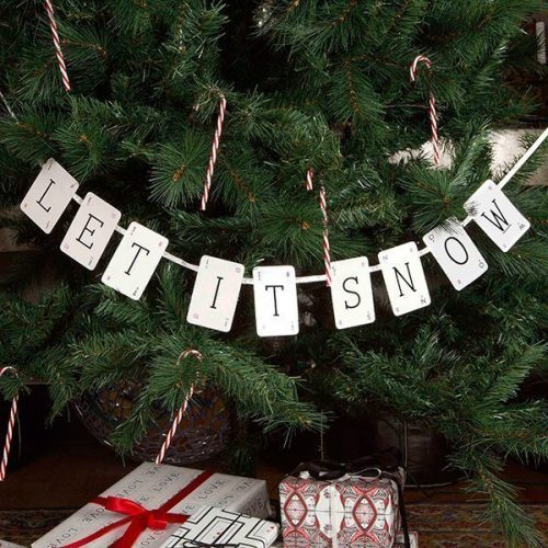 Let It Snow Vintage Christmas Bunting