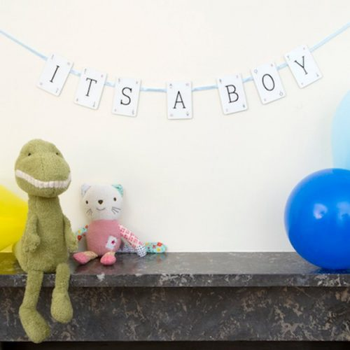 New Baby Boy Vintage Card Bunting