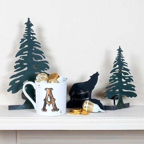 Christmas Gold Letter Mug with Milk Chocolate