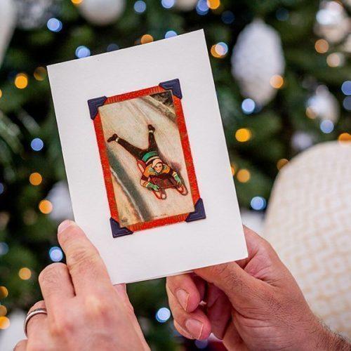 Vintage Tobogganers Christmas Card