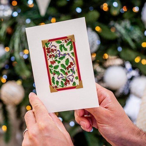 Vintage Holly Christmas Card