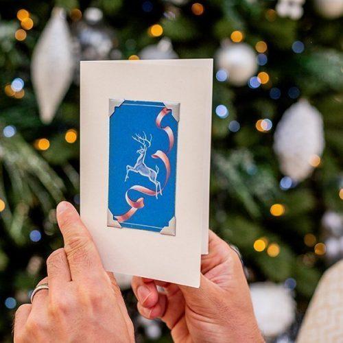 Vintage Dancing Reindeer Christmas Card