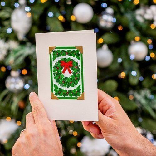 Vintage Christmas Wreath Card