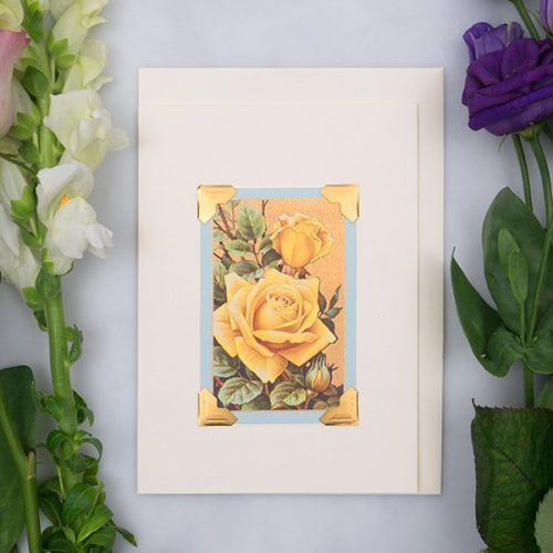 Vintage Card - Yellow Roses